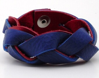 Soft Red and Blue Leather Magic Braid Bracelet