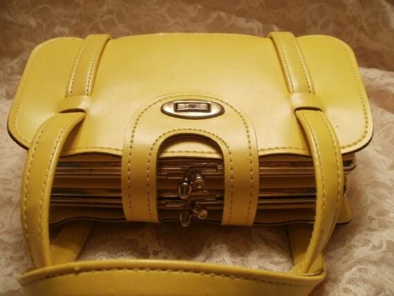 Dover Yellow Handbag Double Kiss Closure Yellow Leather Handbag Purse Mad Men Style