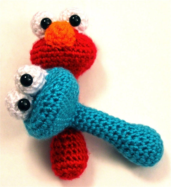 PATTERN Instant Download BUNDLE Elmo AND Cookie Monster Sesame Street Baby Rattle Crochet
