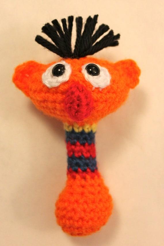 Ernie Sesame Street Baby Rattle Crochet