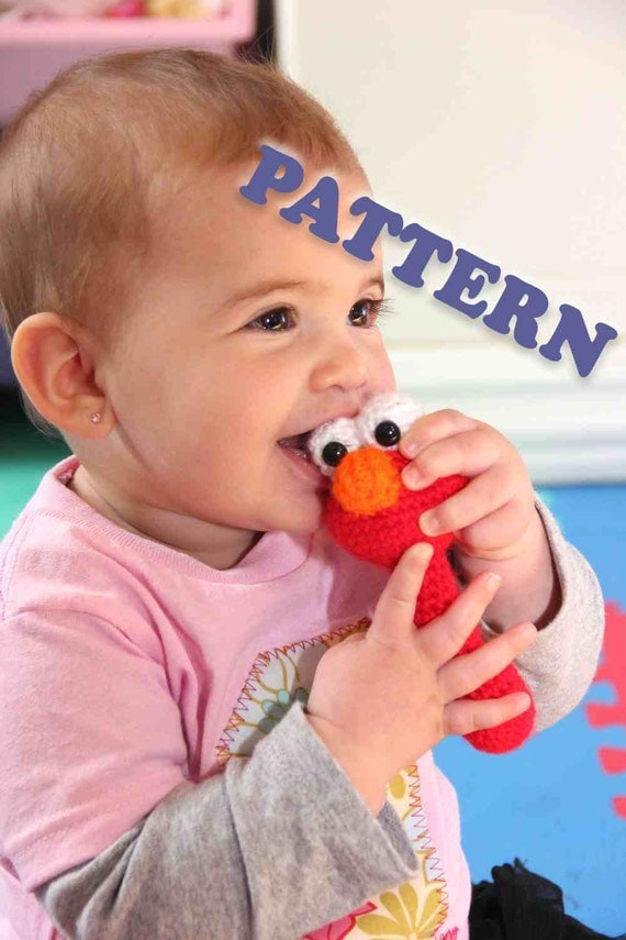 PATTERN Instant Download Elmo Sesame Street Baby Rattle Crochet
