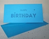 Birthday card:  Letterpress printed 'HAPPY BIRTHDAY' with stars