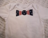 No Sew Iron-on Striped 4th of July baby bow tie applique