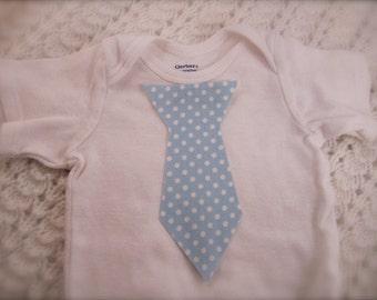 Iron on Baby Tie, Iron on Toddler Tie, Tie Applique. Pastel Blue Polka Dot Tie