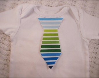 No Sew Iron-on Blue and Green Striped Baby Tie Applique