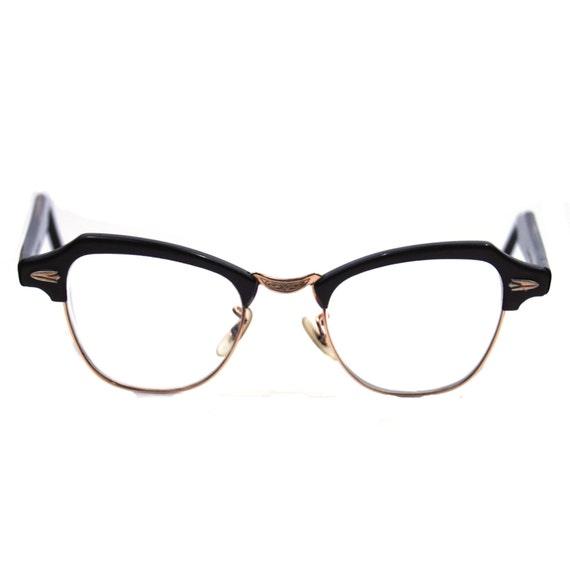 Vintage Eyeglasses Gold Filled Bausch and Lomb Brown Clubmaster Frames.