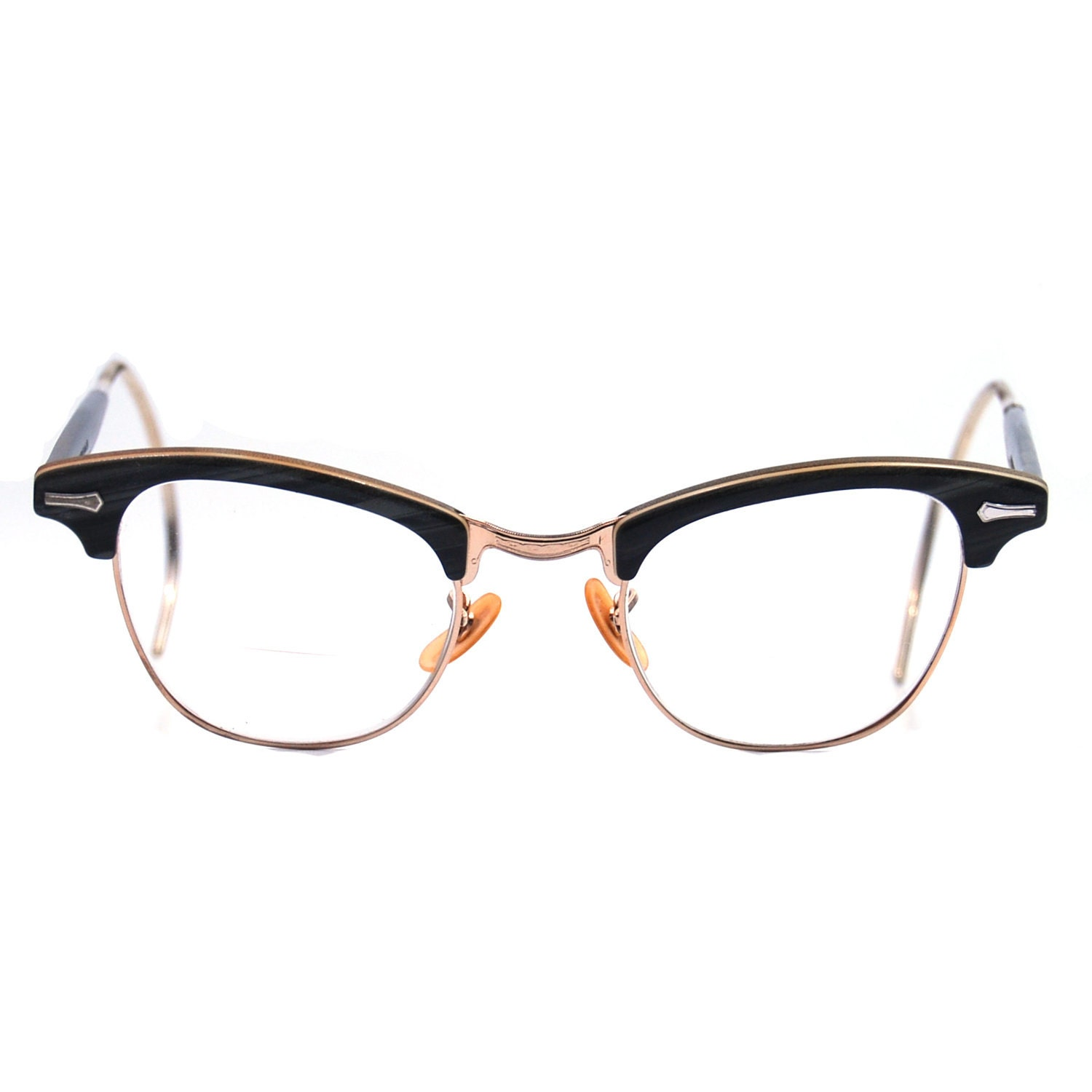 vintage eyeglasses gold filled shuron gray and black by