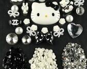 DIY Hello Kitty Bling Bling Flatback Resin Cabochons Kawaii Deco Kit / Set PD307