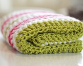 Modern Crochet Baby Blanket - Pink and Green Stripe - Made to Order
