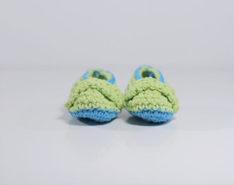 Crochet Baby Boy Booties, Green and Blue Cotton Booties. Baby Boy Gift, Baby Booties Crochet. Baby Shoes Handmade, Baby Gift under 20.