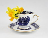 vintage tea cup and saucer wedding gift mother's day blue chinese pattern gold Duchess bone china perfect condition