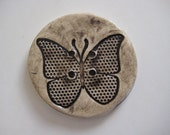 Extra Large Butterfly BUTTON - ceramic black and white - 50 mm