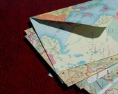 Old map envelopes, upcycled repurposed recycled vintage book