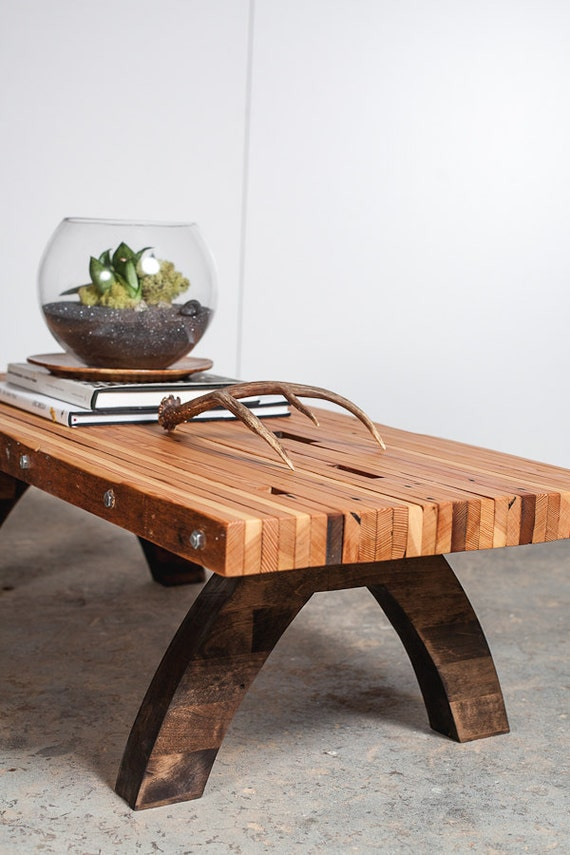 reclaimed wood bolted slab coffee table. Black Bedroom Furniture Sets. Home Design Ideas