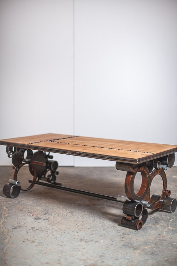 steel and wood, reclaimed coffee table