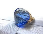 Swarovski Crystal Blue Sapphire Round Twist Gold Filled Wire Cocktail Ring  ...