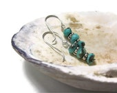 RARE Persian Turquoise Rondelle and Artisan Organic Daisy Spacer Sterling Silver Earrings ...  Simple Summertime - OpheliaJaine