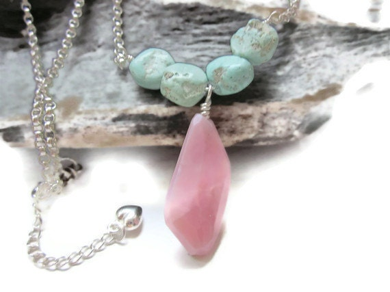 RESERVED for Helena - Pink Opal Nugget Drop and VERY RARE Persian Turquoise Sterling Silver Necklace