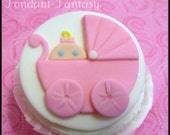 Baby Girl in Buggy Cupcake Topper