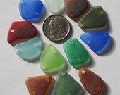 Genuine sea beach glass double drilled multi-color RED BLUE