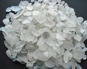 60 Frosted white beach sea glass