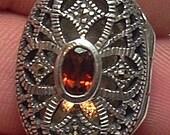 STERLING SILVER Vintage Handcrafted Garnet Locket Pendant