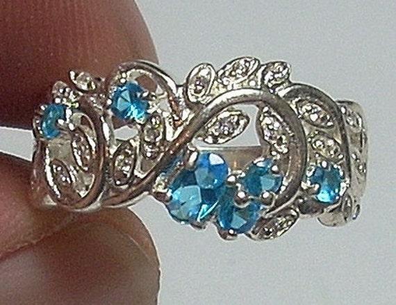 STERLING SILVER Stylish Blue Topaz  & Crystal Ring Sz 9.25
