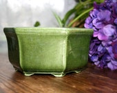 vintage green ceramic planter : Haeger USA dark green forest green