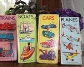 vintage Richard Scarry children books :  Cars, Trains, Boats, and Planes set of 4 books 1960s
