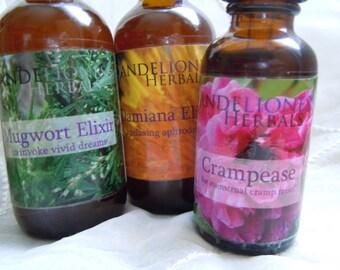 Choose Your Own Herbal Adventure: Custom 3 Pack of 2oz Tinctures/Elixirs of your Choice, Feverfew, Motherwort, Yarrow, Lemon Balm, etc.