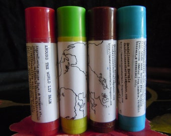 Around the World Lip Balm: a Smooth Blend to Soothe Dry Lips with Calendula, Fair trade Palestinian Olive Oil, Mint, Orange, Unscented