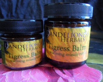 SALE Tigress Balm: Warming Herbal Muscle Rub to Massage Sore, Strained Muscles w. Arnica + St. Johns wort, Shea Butter, Flower Essences