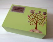 Large Personalized Wooden Baby Keepsake / Memory Box Decoupage Tree with Owls - Green