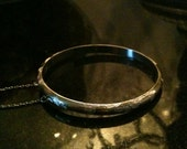 Beautiful Vintage Etched BANGLE Bracelet with safety chain