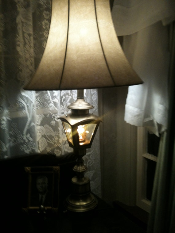 Solid Brass 2 Part Vintage Antique Table Lamp with Lantern called RailRoad, Carriage House, Cottage Lantern - Just REWIRED.