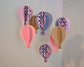 Girls Pink/Navy 3D Paper Hot Air Balloon Mobile