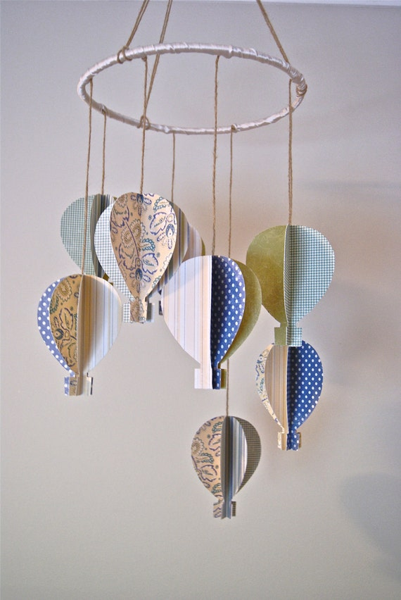 Boys 3d Paper Hot Air Balloon Mobile By Trailofivy On Etsy