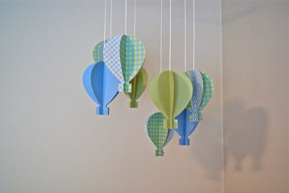 Blue Green 3d Paper Hot Air Balloon Mobile By Trailofivy