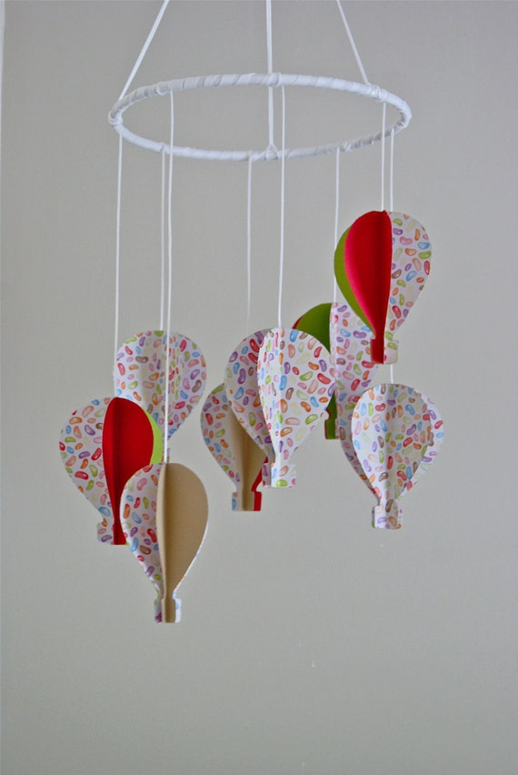 3d 39 Jelly Bean 39 Paper Hot Air Balloon Mobile By Trailofivy