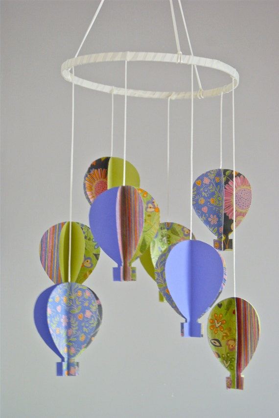 Girls 3d 39 Floral Print 39 Paper Hot Air Balloon Mobile By