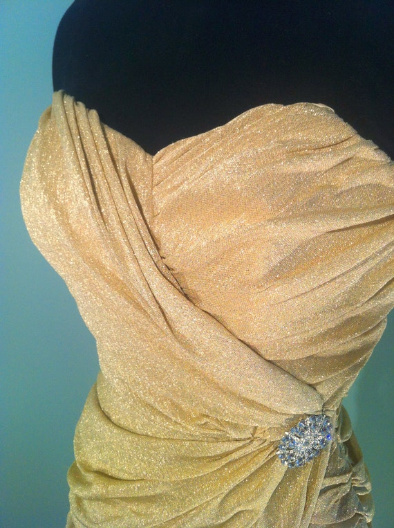 Vintage 50s Gold lame Lilli Diamond draped Hawaiian sarong style dress. Size S/M designer strapless