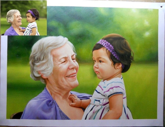 """Custom Portrait Oil Painting on Canvas Traditional Art Ultimate Gift 12""""X16"""""""