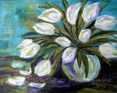 "ORIGINAL PAINTING, White Tulips in Glass Vase - ""Tulips of the Witnesses""  24"" x 18"" Acrylic on Canvas"