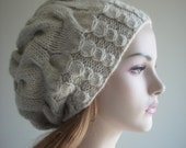 Hand Knit Slouchy Hats Oversize Berets Baggy Beanie Light Grey color Wool Acrylic Ladies Slouch