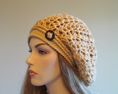Slouchy Lace Tam Beret Beanie Oversized Hat Spring Summer Fashion Womens Caramel Beige Hand made crochet