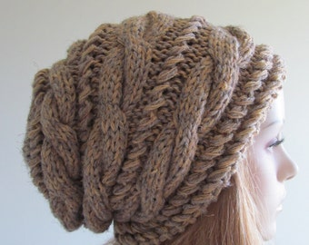 Slouchy Beanie Slouch Hats Braided Oversized Baggy Cable Hat  Womens Fall Winter accessory Grey Beige Brown  Hand Made Knit