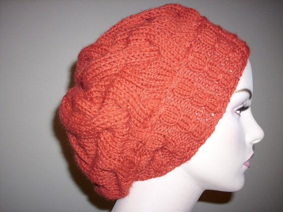 Red Womens Knit hat Winter Spring  Slouchy  Oversize Berets Baggy Beanie