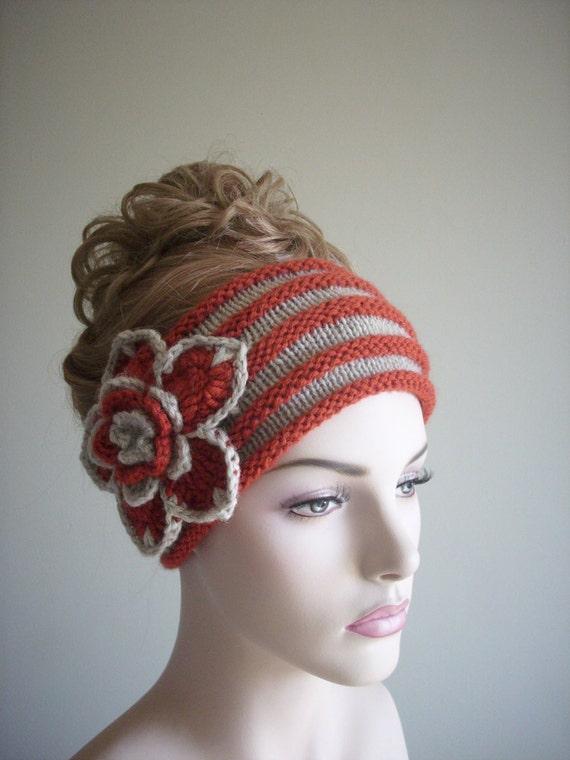 Headband Earwarmer Women Girls Spring Accessories Ladies Hats Red Grey Hand Knit Crochet