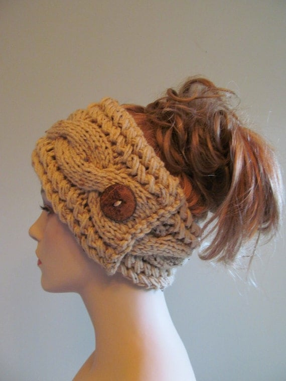 Knit Headband Pattern With Button : Knitted Cable Braided Headbands with Button Earwarmers by Lacywork