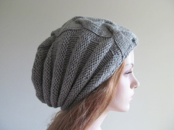 Slouchy Beanie Slouch Grey Wool Hats Oversized Baggy Cabled  Gray Hand Made Cable Knit